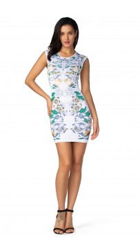 Herve Leger Celebrity Bandage Dresses O Neck Flower Print White Green