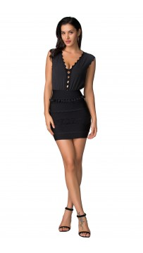 Herve Leger Sleeveless v-Neck Black Bandage Dress