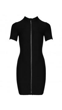 Ladies Sexy Zipper Bandage Black Mini Dress