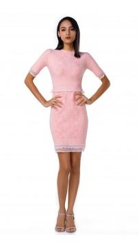 Herve Leger Bandage Dress O Neck Falbala Pink