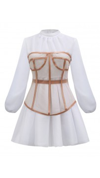 Ladies' Fashion And Elegant Perspective Two-Piece Suit Waist Puff Sleeve White Dress