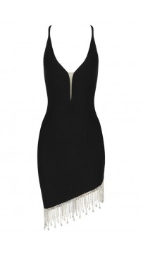 Black Strappy Sexy Fringed Bandage Mini Dress