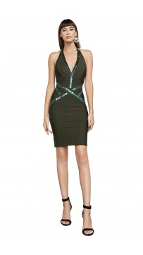 Herve Leger Bandage Dress Halter V Neck Sequined Green