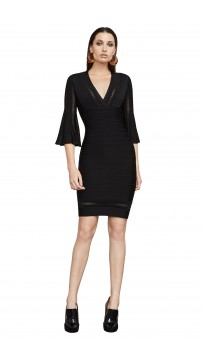 Herve Leger Minervah Transparent Pointelle Dress