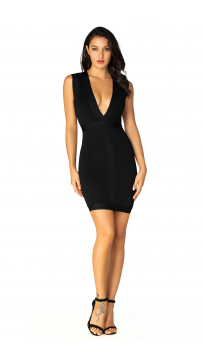 Herve Leger Bandage Dress V Neck Black