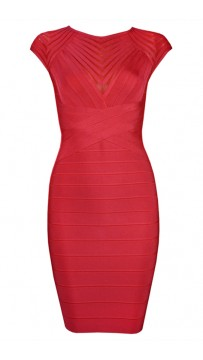 Herve Leger Bandage Dress Cap Sleeve Red