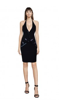 Herve Leger Bandage Dress Halter V Neck Sequined Black