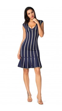 Herve Leger Isabel Chevron Knit Jacquard Dress