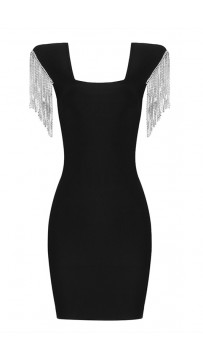 Sleeveless Black Fringed Bandage Dress