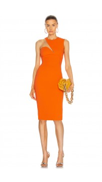 Orange O-Neck Sexy Mesh Patchwork Bandage Dress