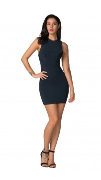 Herve Leger Celebrity Bandage Dresses O neck Sleeveless Navy