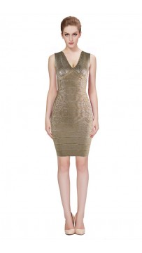 Herve Leger Bandage Dresses Foil V Neck Gold Cocktail Dress