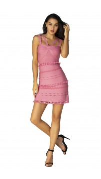Herve Leger Bandage Dress Flared Yoke Strap Tassels Pink