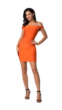 Herve Leger Bandage Dresses Off Shoulder Orange Mini Dress