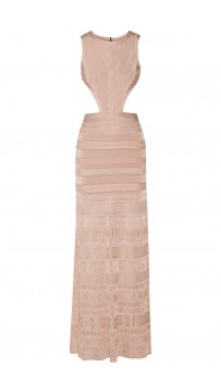 Herve Leger Blush Alondra cutout bandage gown
