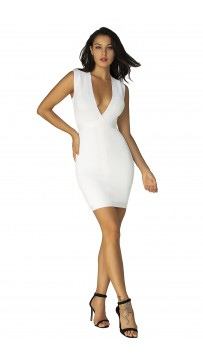 Herve Leger Bandage Dress V Neck White