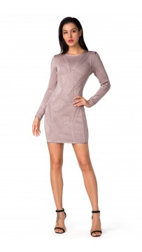Herve Leger Bandage Dress Long Sleeve Khaki