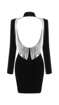 Backless Rhinestone Fringe Long Sleeve High Neck Velvet Black Mini Dress