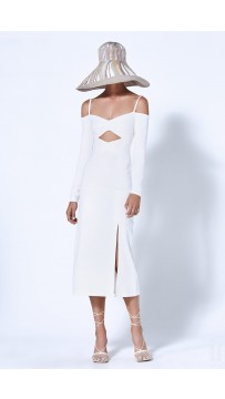 Sexy Off-The-Shoulder Cutout Bandage Long White Dress