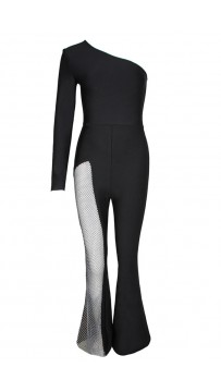 2021 New Women's One Shoulder Long Sleeve Black Sexy Hollow Bandage Jumpsuit