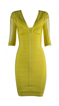 Herve Leger Bandage Dresses V Neck Half Sleeve Yellow