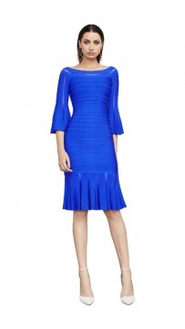 Herve Leger Bandage Dress Boat Neck Half Sleeve Blue