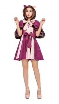 Halloween In Wonderland Purple Smiley Cat Costume