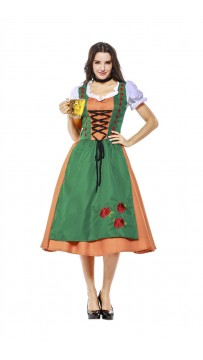 Womens Dress Color Block Oktoberfest Fraulein Costume