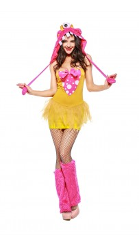 Halloween Melody Monster Dotted Dress with Furry Monster Hood
