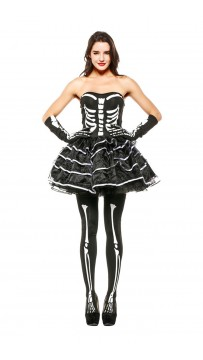 Halloween Catrina Burlesque Skeleton Costume