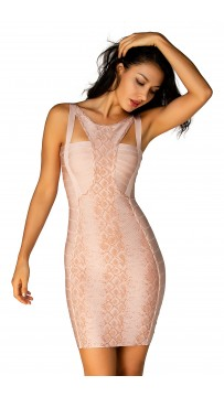 Herve Leger Bandage Dresses Halter Yoke Orange Backless