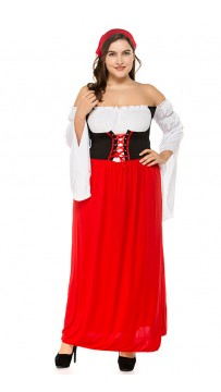 Large size Oktoberfest Beer Girl Costume Outfit Fancy Long Dress