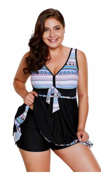 African Tribal Patterned Two-Piece Plus Size Swimsuit
