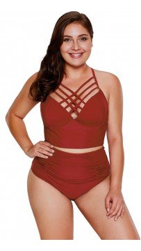 Plus Size Solid Color Sexy High-Waisted Halter Bikini