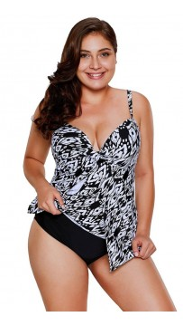 Printing Halter Swimsuit Split Plus Size Bikini