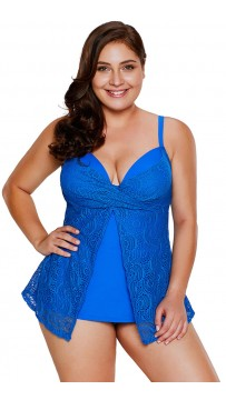 Printing Halter Plus Size Split Swimwear