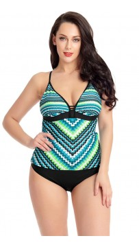 Sling Tube Top Fish Scale Print Split Plus Size Swimsuit