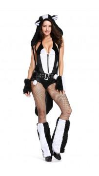 Halloween Womens Skunk Faux Fur Animal Suit Costume