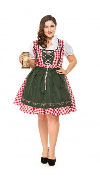 Womens Plus Size Red Plaid Dress Oktoberfest Fraulein Costume