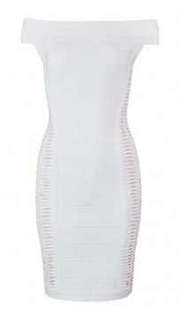 Herve Leger Bandage Dress Off Shoulder Cut Out White