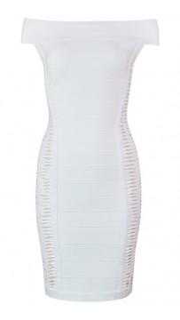 Herve Leger Bandage Dress Off Shoulder Cut Out White