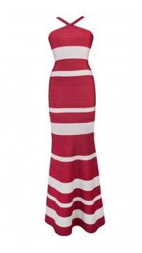 Herve Leger Bandage Dress Long Gown Halter Neck Red