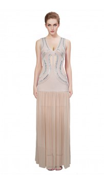 Herve Leger Bandage Gown Dresses Long Maxi Dress Deep V Neck Cutout Beaded Nude