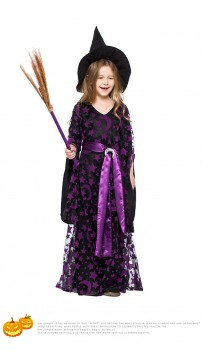 Halloween Purple Mesh Witch Kids Costume