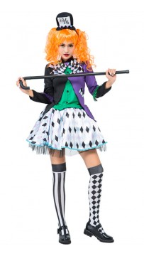 Alice Halloween Cosplay Clown Plaid Costume