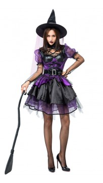 Halloween Purple Witch Cosplay Costume