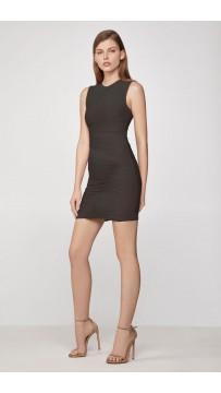 Herve Leger Tulle Bandage Ruched Mini Dress Black