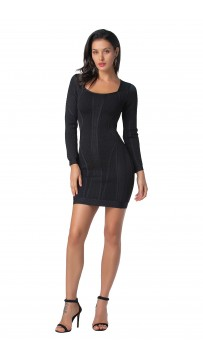Herve Leger Valeria Multi-Texture Mesh Dress