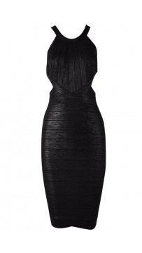 Herve Leger Marina Woodgrain Foil-Print Bandage Dress Black