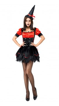 Halloween Party Black Red Flame Little Witch Cosplay Costume